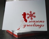 Holiday FLIRTY Collection - Set of 5 Greeting Cards in Red / White 'Pinup Girl'