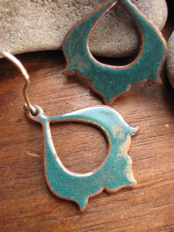 moroccan memoirs earrings - turquoise enamel