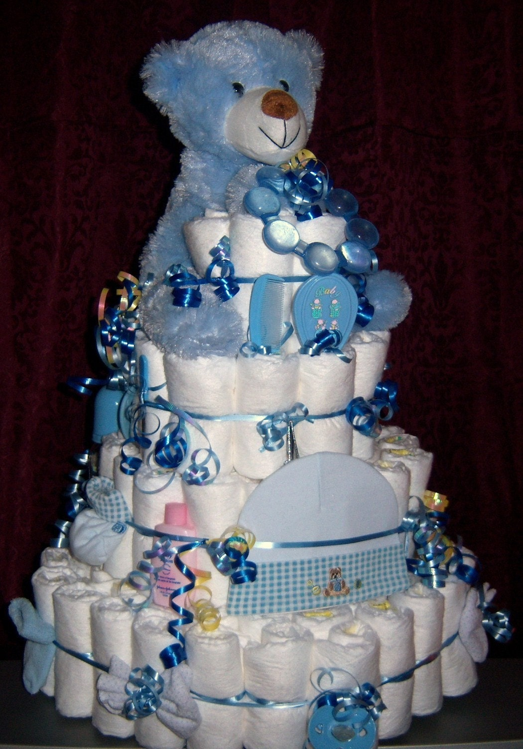 Baby shower bear diaper cake boy girl or by babydiapercakes for Baby shower diaper decoration