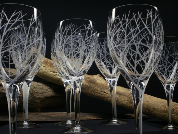 8 Wine Glasses Hand Engraved Crystal Glass 'Reaching Branches' Holiday Tableware Winter Weddings Fall Bar ware