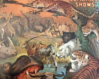 Vintage Book Circus Poster Lions Tigers Horses Poster Size Book Plate