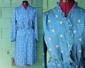 80s blue secretary dress geometric gold triangles print ruffle collar