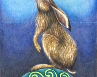 Moon Gazing Hare - signed art print - approx. 8 x 11 inches