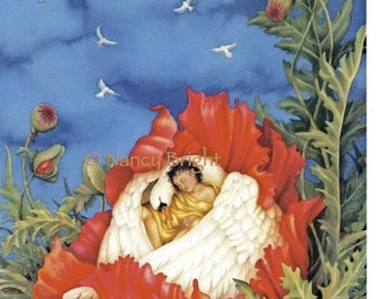Dream Of Peace- A swan envelops a youth while they sleep inside a red poppy, above, 7 doves fly