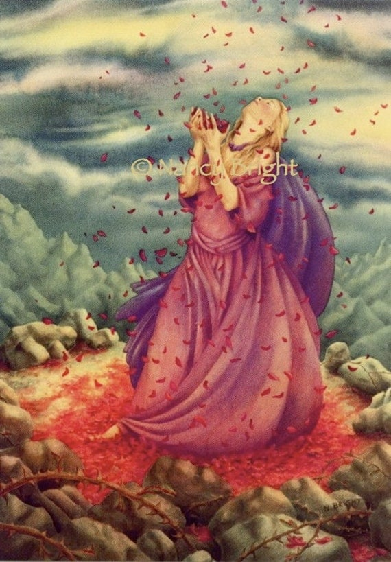 Sacred Rose Of Wisdom-Having forged the brambled mountain, a woman gives thanks for blessings
