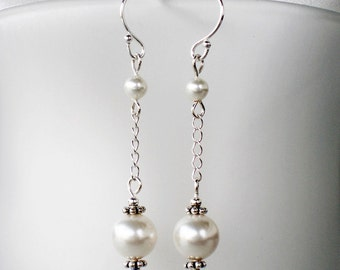 White Pearl Earrings Sterling Silver Swarovski - Sway - bridal wedding party gift jewelry