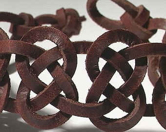 8 Knot Mens Leather Wristband -- Celtic Josephine -- Womans Ankle Cuff