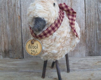 Wooly Sheep, Rustic Country Decor, Checkered, Handmade, Animal, Barnyard, Ewe, Flock, Farmhouse Decor