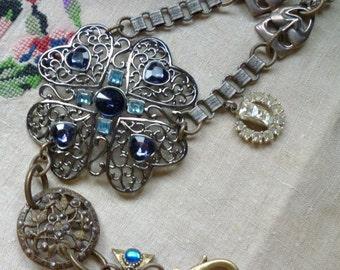 Blue Garden OOAK Art Assemblage Bracelet Antique Vintage Components