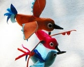 Colorful birds for decorating, soft sculpture in bright orange, turquoise, and coral fabric, set of 3