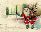 Vintage  Christmas postcard by Gibson. Divided back era. *Free shipping.