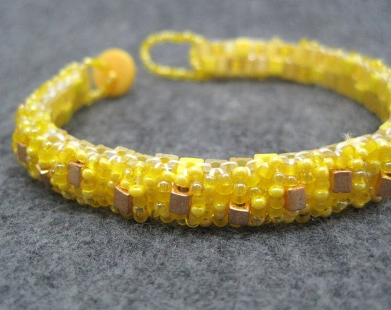 Beaded Cuff Bracelet - Skinny Wrapped - Sunshine Yellow Gold Accented by randomcreative on Etsy