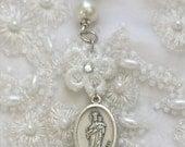 queen of heaven - white silk prayer ribbon