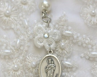 queen of heaven - white silk prayer ribbon - last few available