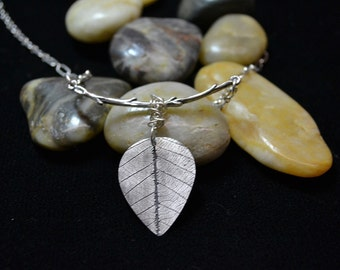 Leaf Neclace. Sterling Silver Twig Jewelry. Organic Fine Silver Leaf on Twig Necklace. Into the woods collection