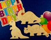 Dinosaur Party Favors - Childrens Wooden Puzzles - Package of 12 Dinosaur Puzzles - Great for Toddler and Childrens Parties