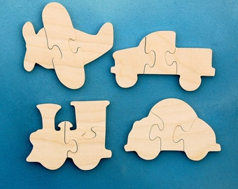 Childrens Wood Puzzles - Airplane Train Car Truck - Set of 4 Wooden Toy Vehicle Jigsaw Puzzles - Fun for Children and Toddlers