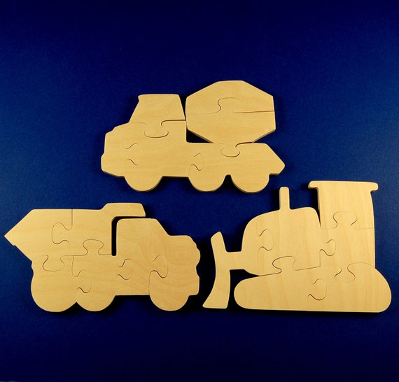 Construction Party Favors - Package of 9 Wood Construction Vehicle Puzzles - Great for Kids and Toddler Partys