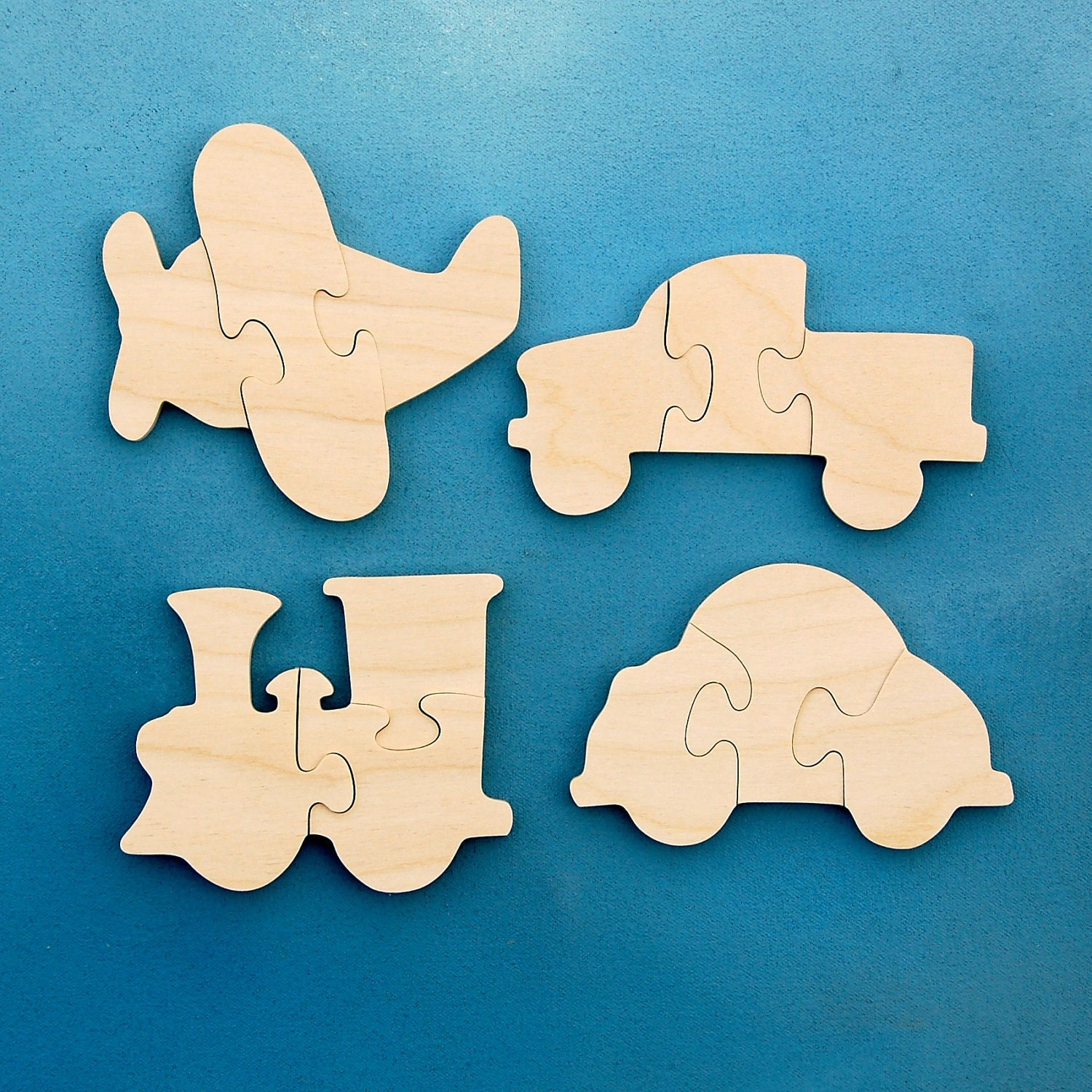 Childrens Wood Puzzles Airplane Train Car Truck Set of 4 Wooden Toddler Puzzle