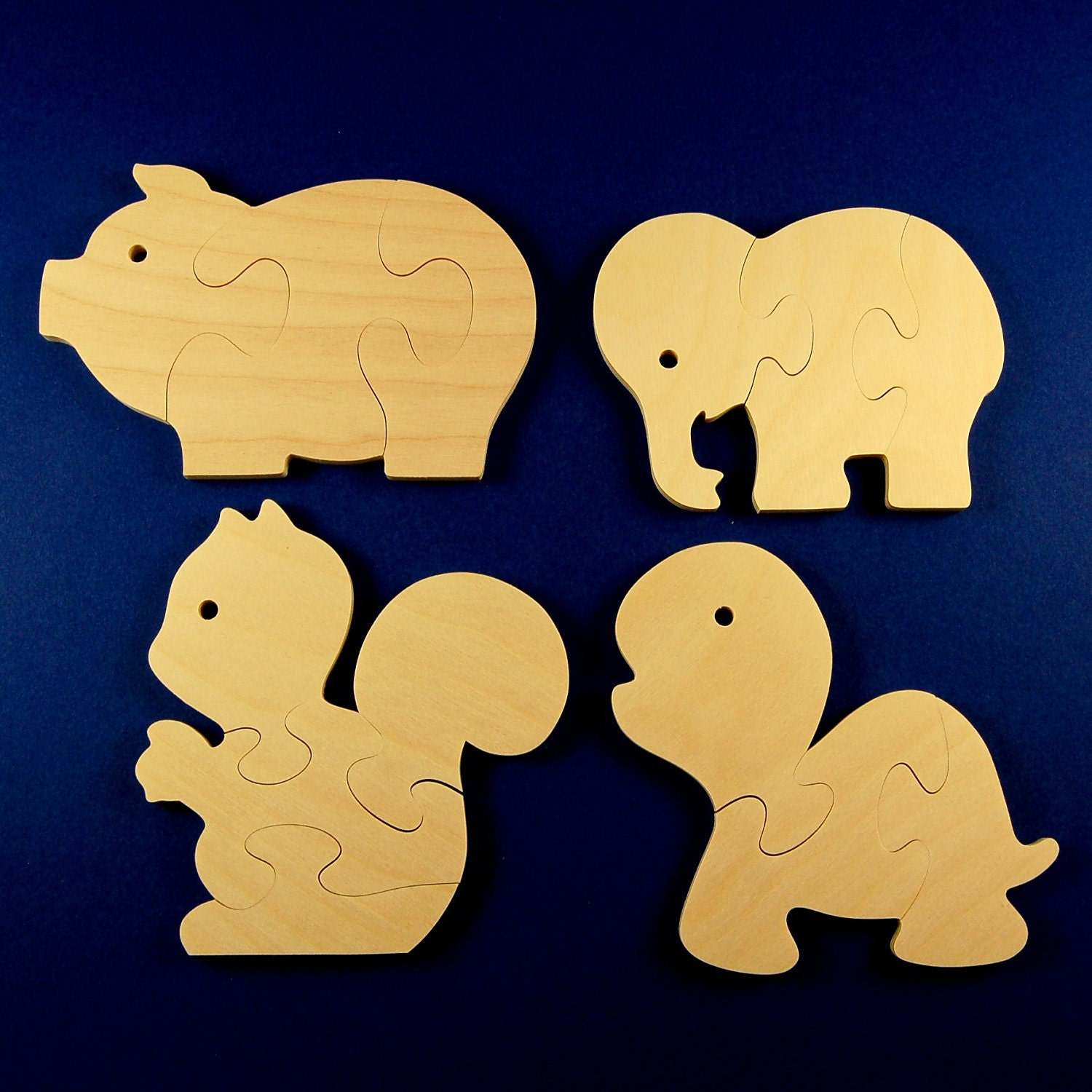 Childrens Wood Puzzles Fun Animals Set Of 4 Wooden Jigsaw
