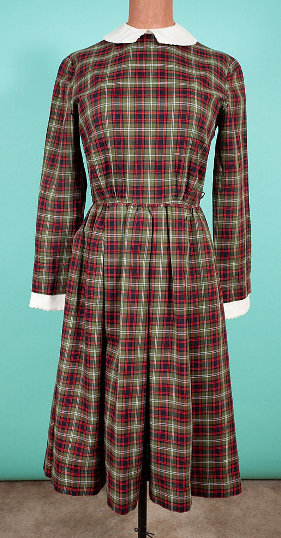 1950's Lanz Green and Red Plaid Dress, Holiday, Christmas, Secretary, 36-24-Free