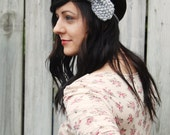 Knit Headband in Grey with Large Bow // Adult Light Gray Bow // Preppy Knitted Headband