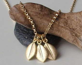 LAST ONE Leaf Necklace in Gold,  Little Leaves Necklace