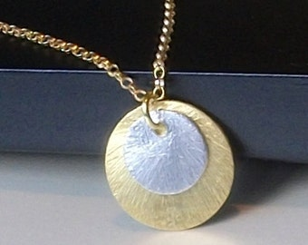 LAST ONE Circle Necklace in Gold, Mixed Metals Gold Silver Necklace