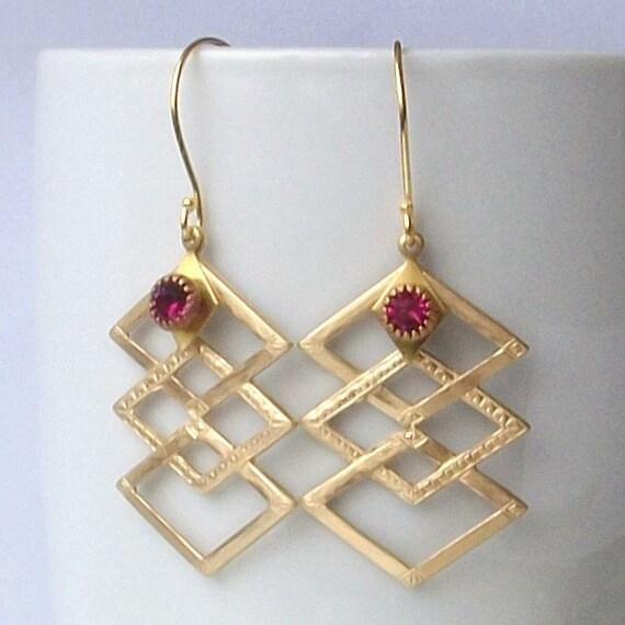 LAST PAIR- On Sale Chevron Earrings,Vintage Pink Geometric