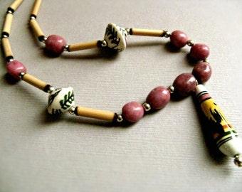 Andean Llama Necklace - Pink Rhodonite & Sterling Silver / Peru