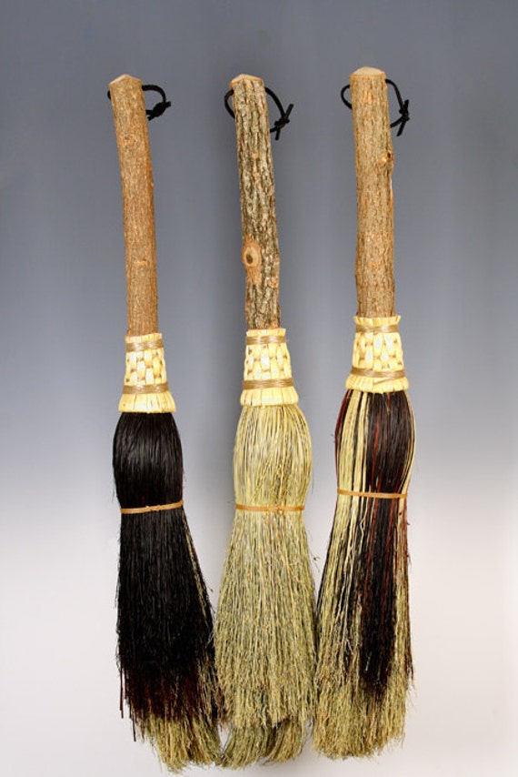 Round Fireplace Broom in your choice of Natural, Black, Rust or Mixed Broomcorn