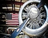 Military Airplane Propeller & USA Flag Fine Art Print