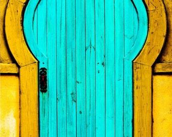 Yellow & Blue Aged Wooden Door Fine Art Print - Door, Realtor Gift, Building, Architecture, Vintage, Home Decor, Office Decor