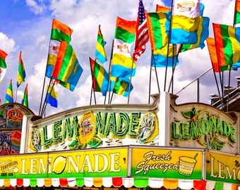Carnival Lemonade Stand Fine Art Print- Carnival Art, County Fair, Nursery Decor, Home Decor, Children, Baby, Kids