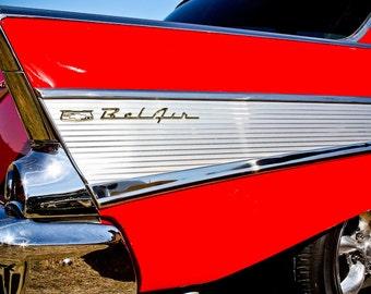 1957 Chevrolet Bel Air Car Photography, Automotive, Auto Dealer, Classic, Muscle, Sports Car, Mechanic, Boys Room, Garage, Dealership Art