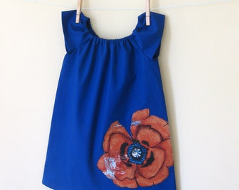 Girls Peasant Dress .  Indigo Blue . Burnt Orange Poppy Applique
