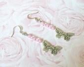 Pastel Pink Butterfly Dangle Earrings