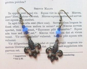 FLEUR DE LIS Dangle Earrings  -French Blue & Brass - Vintage Inspired Jewelry