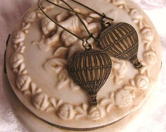 Hot Air Balloon Earrings - vintage brass