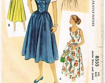 Vintage 1951 Sleeveless Summer Dress Pattern with Full Skirt Size 13 McCalls 8555