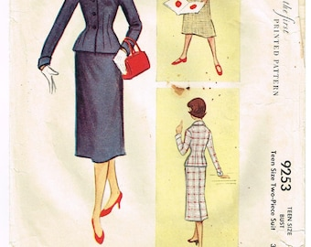 Vintage 1953 Ladies Two Piece Suit Pattern with Fitted Jacket and Slim Skirt Size 14 McCall's 9253