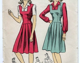 Vintage 1942 Dress Pattern with Pleated Skirt and Buttoned Blouse Size 12 DuBarry 5468 FF