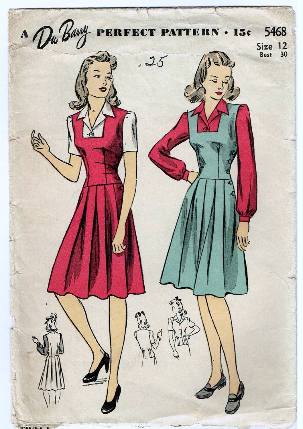 vintage 1942 dress pattern with pleated skirt by