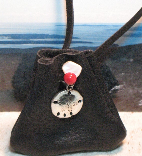Silver Plated SAND DOLLAR Black Leather Pouch