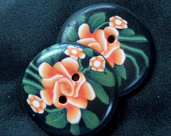Handcrafted, Orange Rose Round Buttons Polymer Clay No. 86