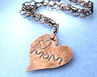 Heart for Mom, Mother's Day Gift, Pendant Rustic Copper Present for Her, Hammered Metal Statement Necklace, Choice of Chain, Valentine  N244