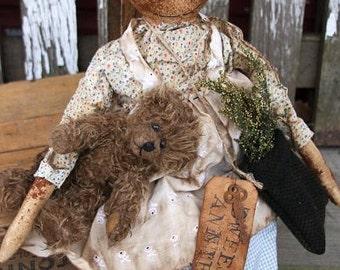 Primitive Doll Pattern Folk Art Rag Ann With Her Teddy Bear Raggedy Ann Extreme