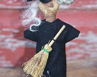 Primitive Folk Art Doll Pattern Broom Hilda Pin Keep Pattern