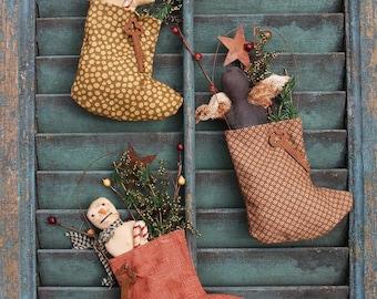 E Pattern Christmas Ornie Primitive Folk Art Snowman Angel Gingerbread Man Christmas Stockings