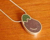 Silver Resin Eggplant Necklace - Farmer's Market Series - lofteddesigns